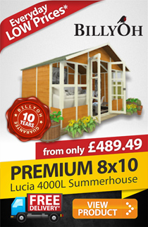8 x 10 BillyOh Lucia 4000L Tongue and Groove Summerhouse