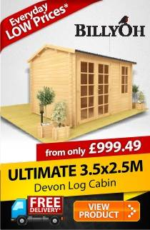 3.5m x 2.5m BillyOh Devon Log Cabin