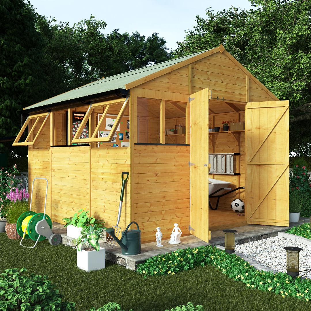 BillyOh 10 x 10 Greenkeeper Premium Tongue & Groove Double Door Workshop Garden Shed