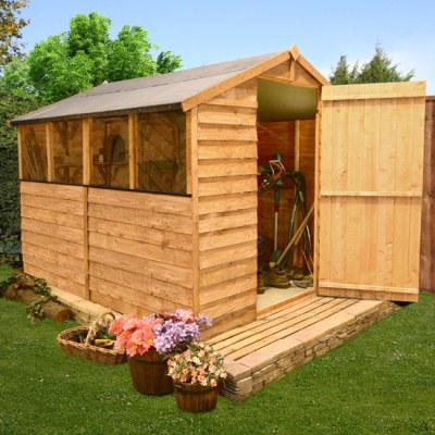 Wooden shed garden shed billyoh classic 3m overlap apex for Garden shed 7x6