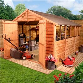 BillyOh 20L Rustic Economy Overlap Apex Garden Shed 10x8