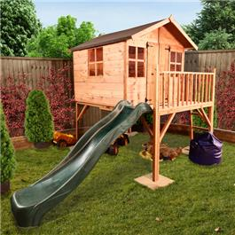 Mad Dash Lollipop Junior Tower Xtra Wooden Playhouse Including Floor and 2m Slide - Available in 4 Different Colours