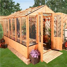 BillyOh 4000 Lincoln Wooden Clear Wall Greenhouse with Opening Roof Vent - 12 x 6 Lincoln Wooden Greenhouse