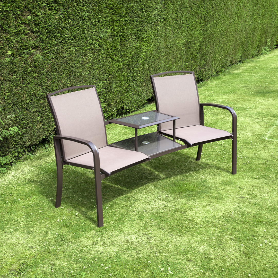 Billyoh express textilene companion love seat garden bench for Garden love seat uk