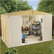 BillyOh Retford 10' Fronted Premium Woodgrain Apex Plastic Shed Inc Foundation Kit