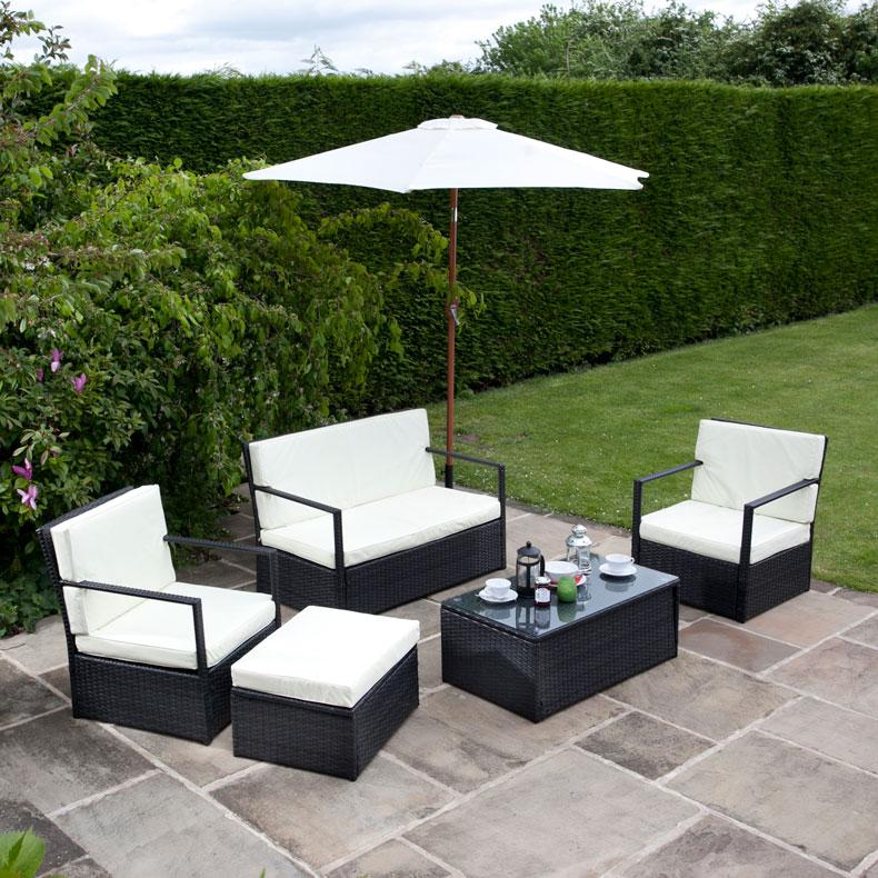 BillyOh Sandringham Black Rattan Garden Sofa 4 Seater Set