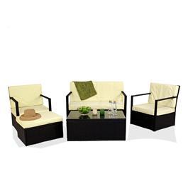 Black 4 Seater Sofa Set