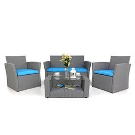 Black 4 Seater Rattan Sofa Set