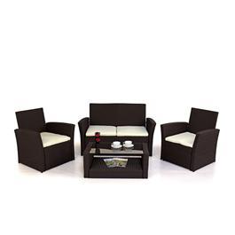 Grey 4 Seater Rattan Sofa Set