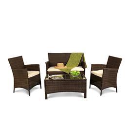 Black 4 Seater Rattan Lounge Set