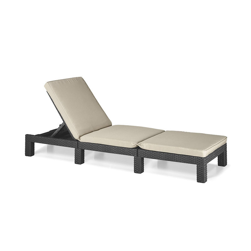 Allibert Daytona Outdoor Sun Lounger Graphite Cream Cushion
