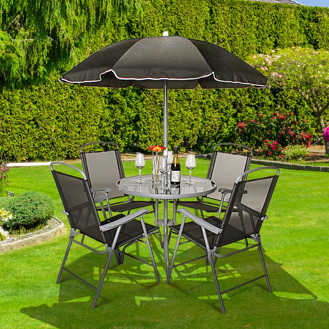 BillyOh Express 4 Seater Black Folding Chair Metal Furniture Set