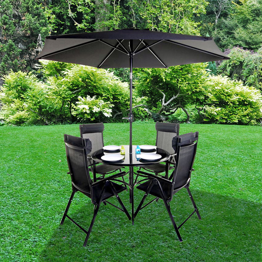 Billyoh comfort 4 seater black round metal garden furniture set bargain shed store Metal garden furniture sets