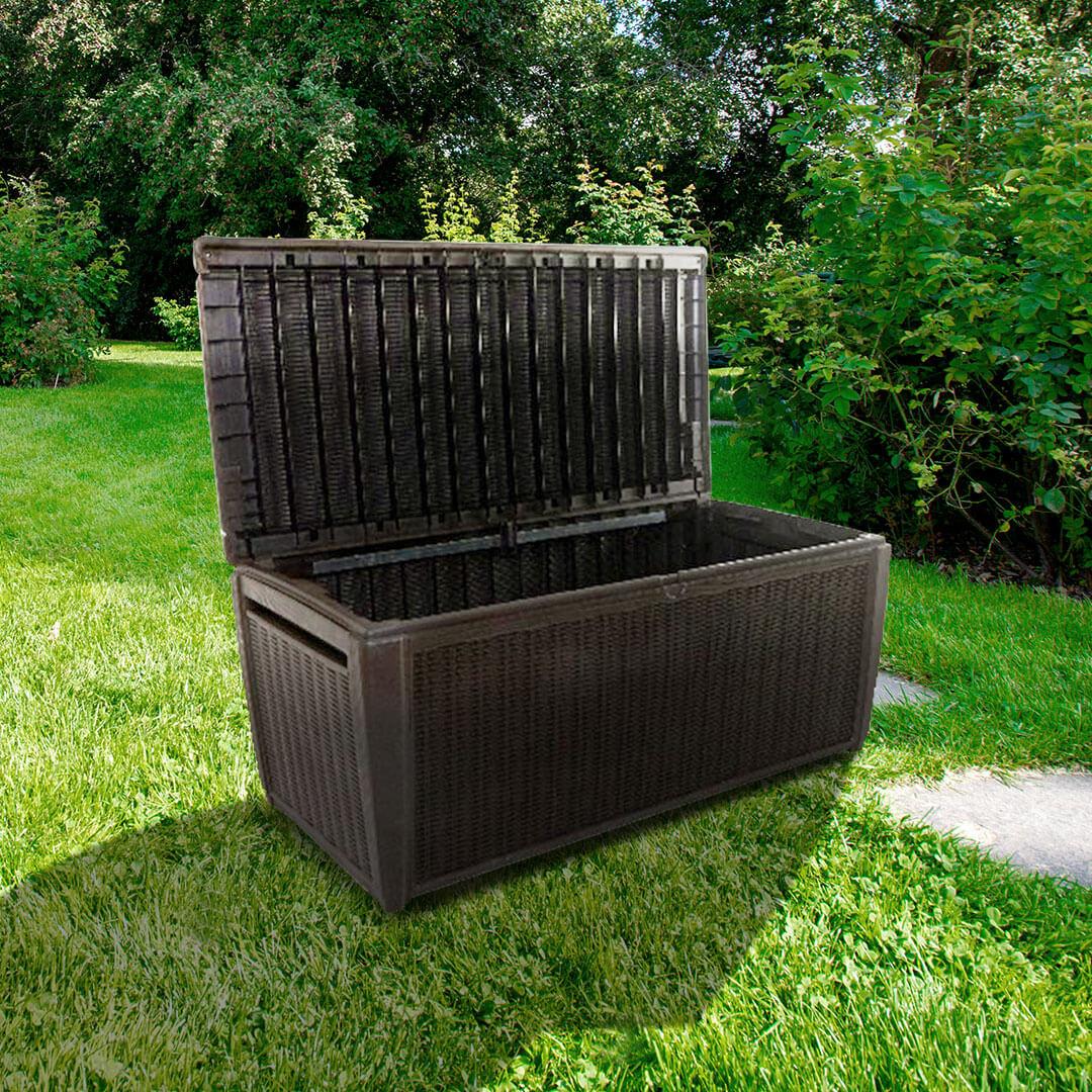 On Keter Sumatra Rattan Style 5 X 2 Jumbo Garden Storage Deck Box XL