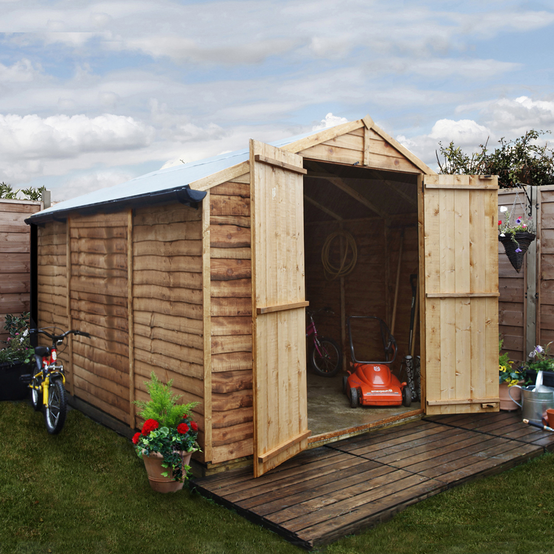 Billyoh 10 x 8 windowless rustic economy overlap apex for Garden shed 2 x 2