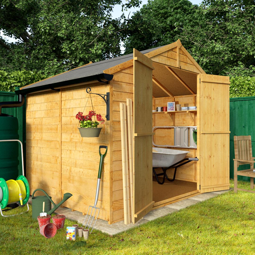 Billyoh 6 x 8 windowless economy overlap apex garden sh for Apex garden sheds