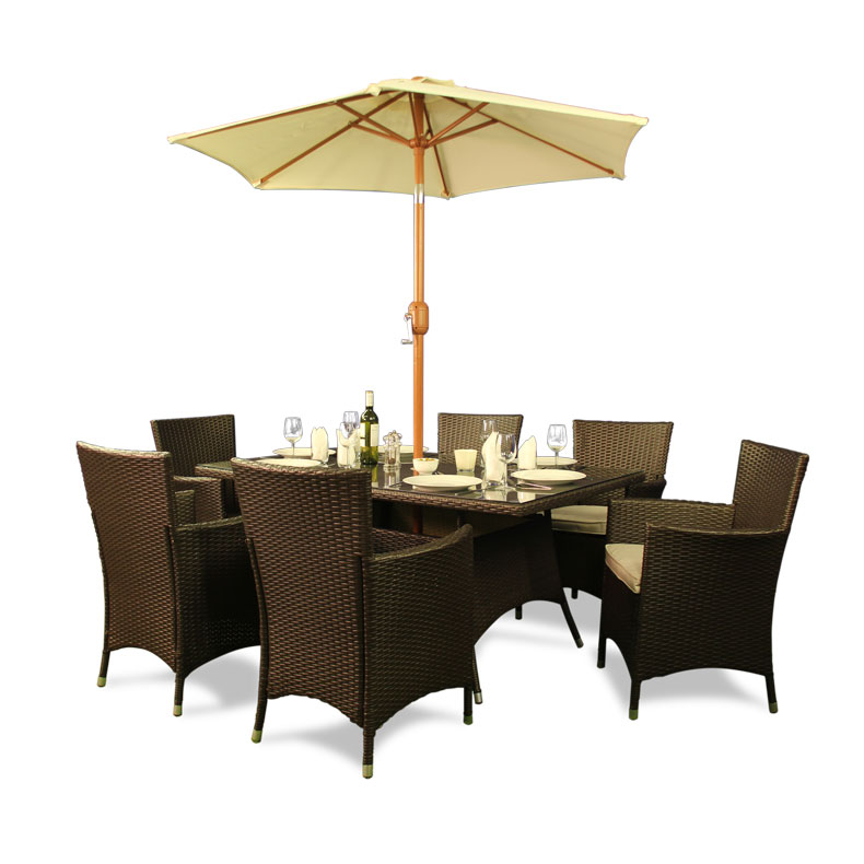 BillyOh Rosario 6 Seater Flat Weave Rattan Rectangular Dining Set