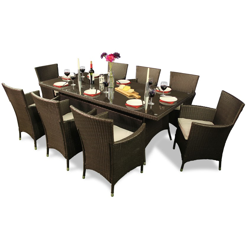 BillyOh Rosario 8 Seater Flat Weave Rattan Furniture Rectangular Dining Set