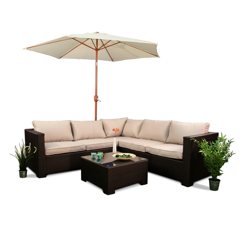 BillyOh Rosario Flat Weave Rattan Furniture Corner Sofa Set
