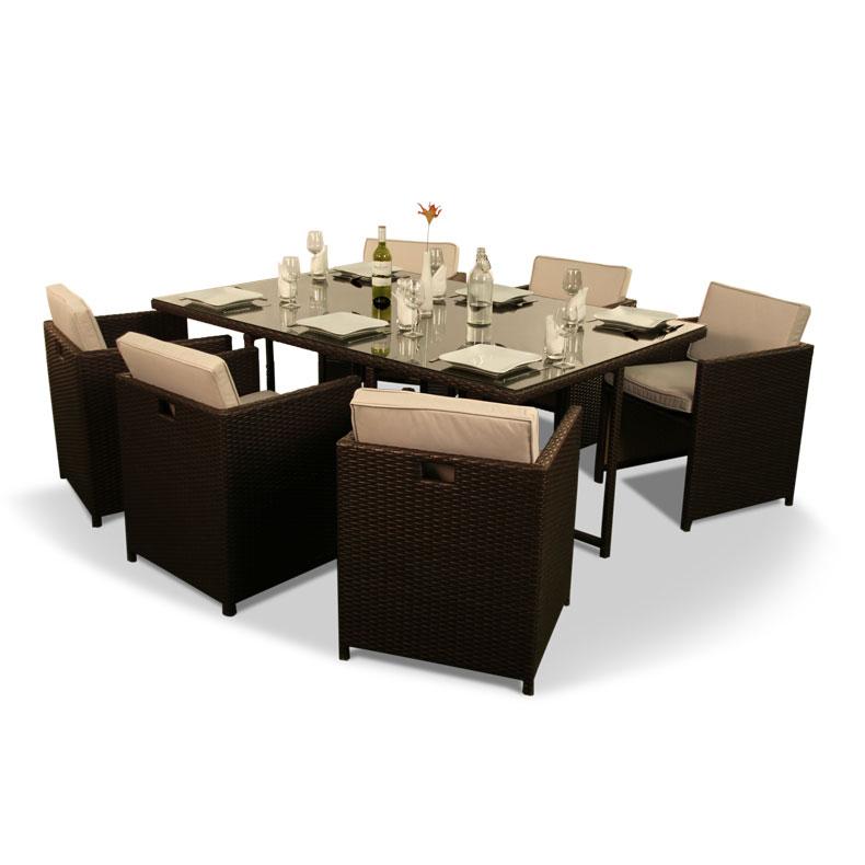 BillyOh Rosario 6 Seater Flat Weave Rattan Cube Dining Set Range