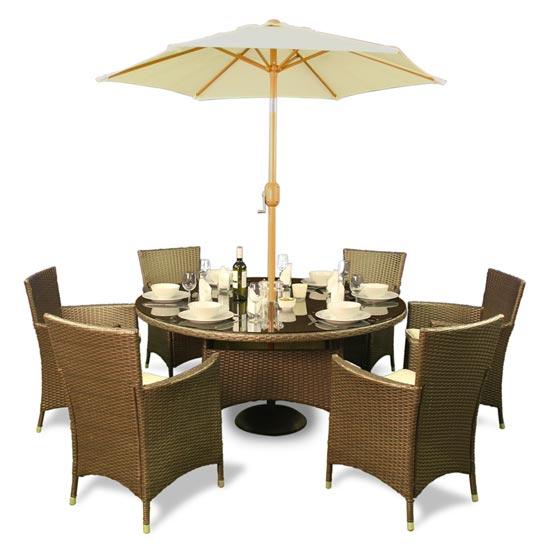 BillyOh Rosario 6 Seater Set Flat Weave Rattan Family Round Dining Set