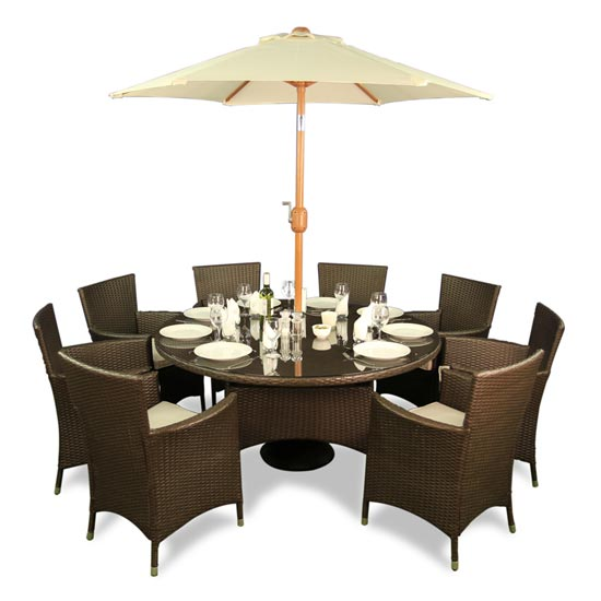 BillyOh Rosario 8 Seater Set Flat Weave Rattan Furniture Family Round Dining Set
