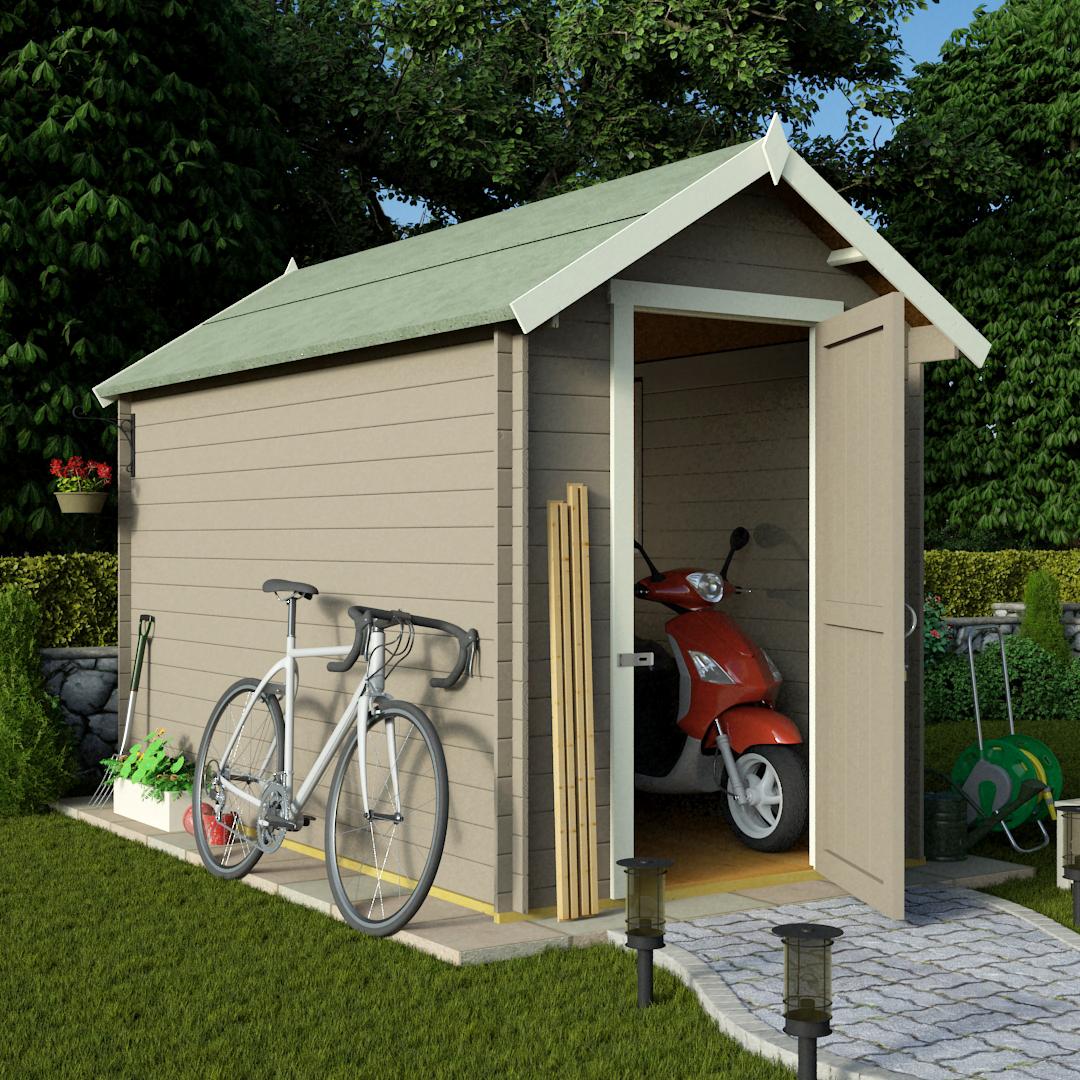 BillyOh 10 x 8 28mm Apex Log Cabin Windowless Heavy Duty Garden Shed