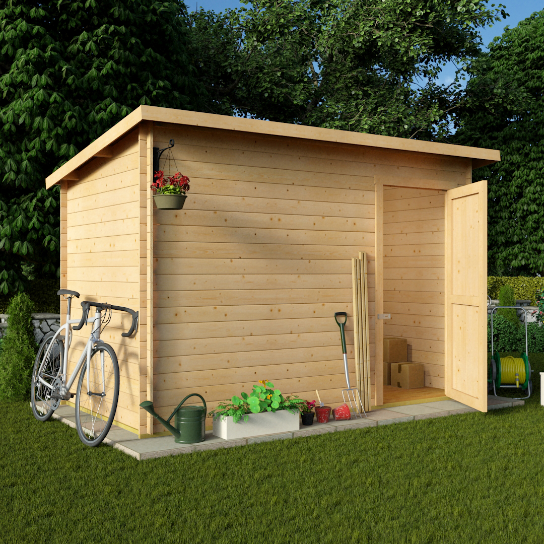 10 X 6 Pent Log Cabin Windowless Heavy Duty Shed Garden Log Cabin. Full resolution‎  file, nominally Width 1080 Height 1080 pixels, file with #AA8021.