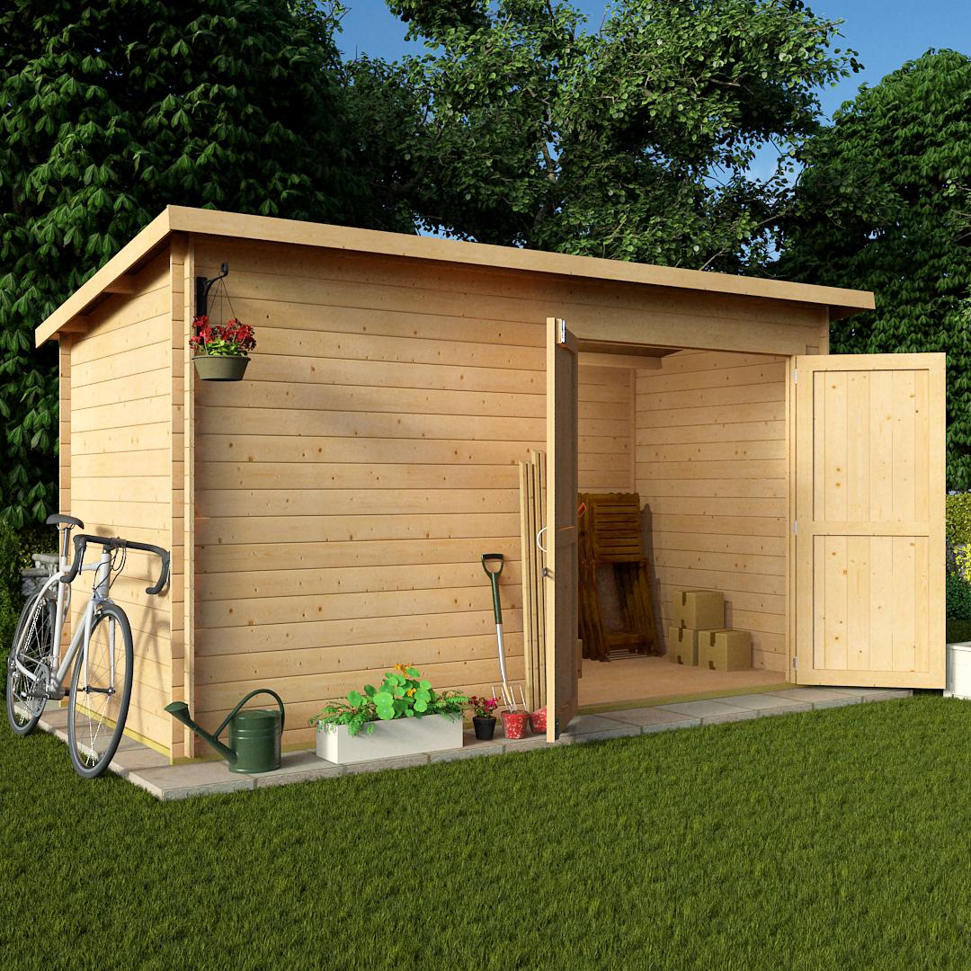 BillyOh 12 x 6 19mm Pent Log Cabin Windowless Heavy Duty Garden Shed