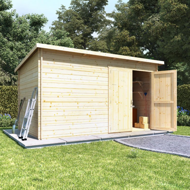 BillyOh Pent Log Cabin Windowless Heavy Duty Shed Range - 10x8 Log Cabin Double Door - 19mm