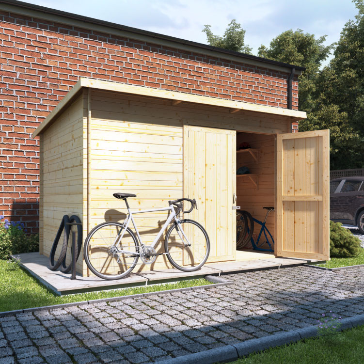 BillyOh Pent Log Cabin Windowless Heavy Duty Bike Store Range - 10x6 Log Cabin Double Door - 28mm