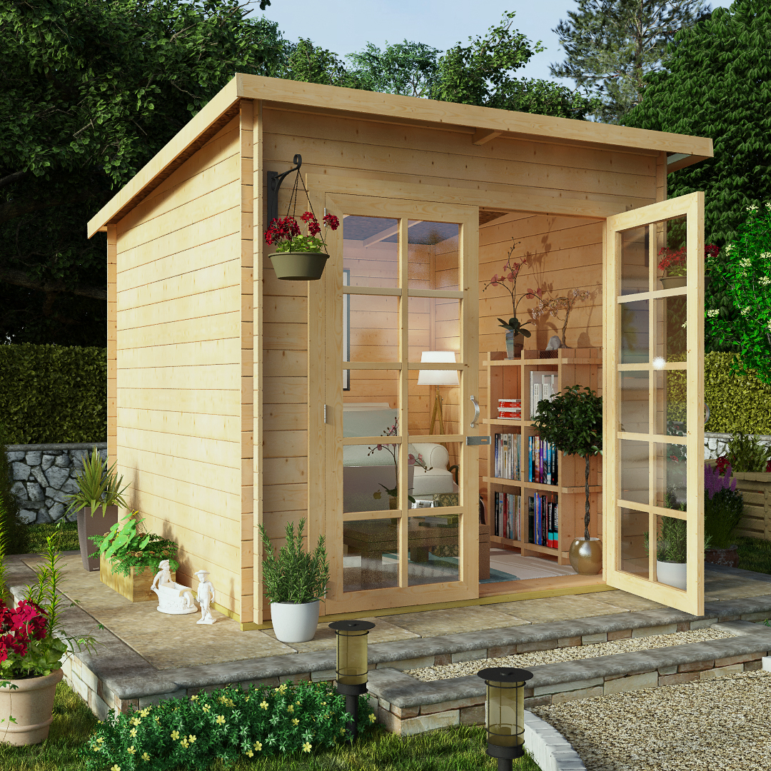 BillyOh 8 x 8 Pent Log Cabin Summerhouse 19mm Central Doors
