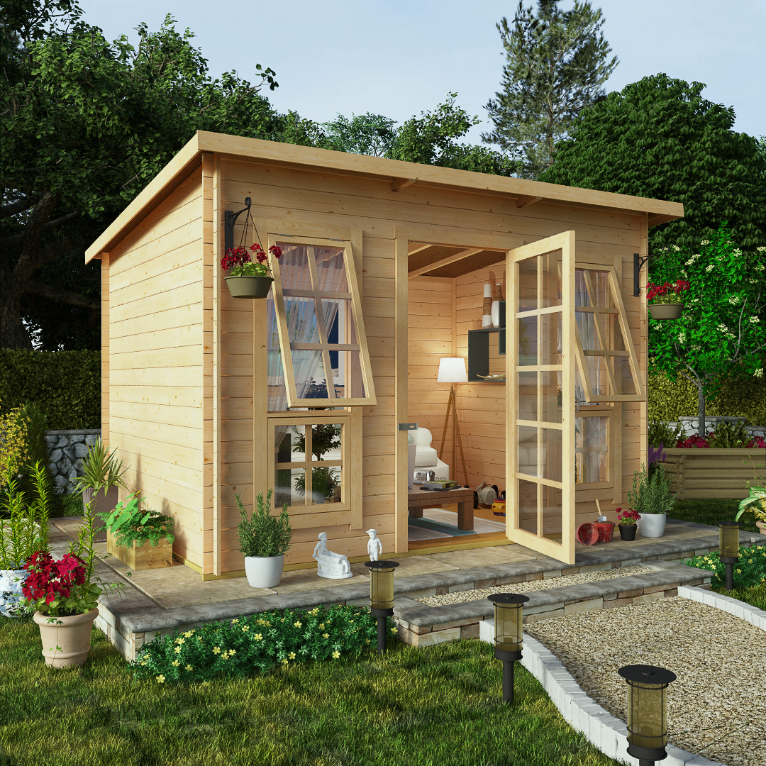 BillyOh 10 x 8 Pent Log Cabin Summerhouse 19mm Central Doors