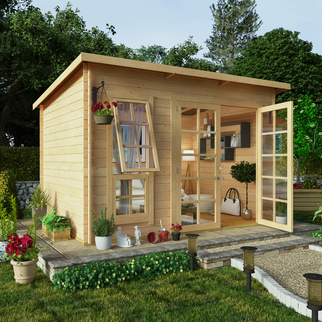 BillyOh 10 x 8 Pent Log Cabin Summerhouse 19mm Offset Doors