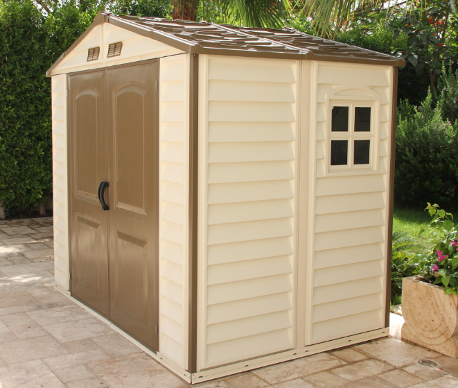 BillyOh Daily Pro Apex Plastic Shed  Vinyl Clad Double Door Plastic Shed with foundation kit