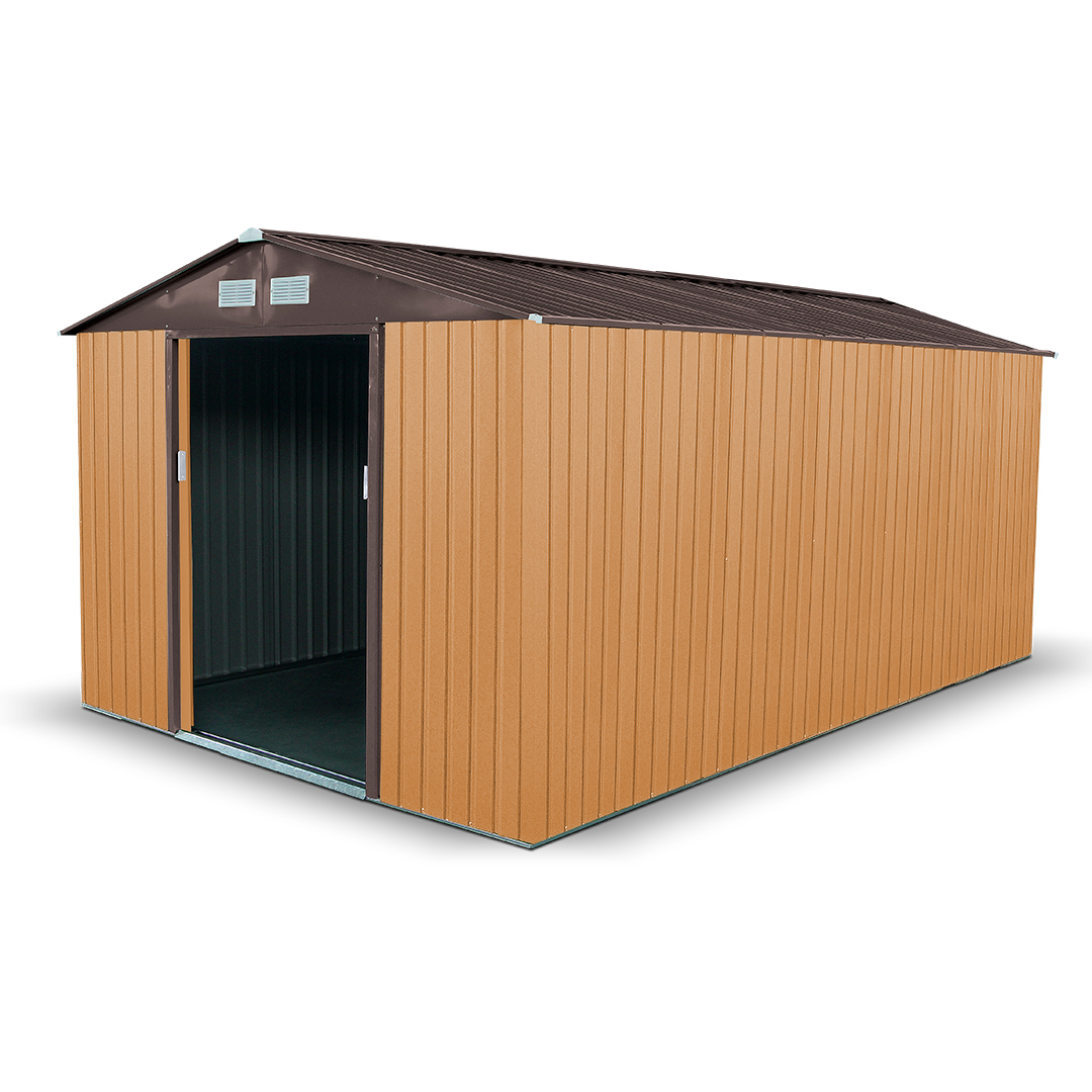 10x11 Apex Light Brown BillyOh Boxer Metal Garden Shed