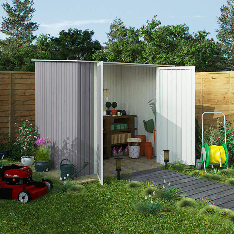 BillyOh Combo Pent Metal Shed - 3 x 5 Warm Grey