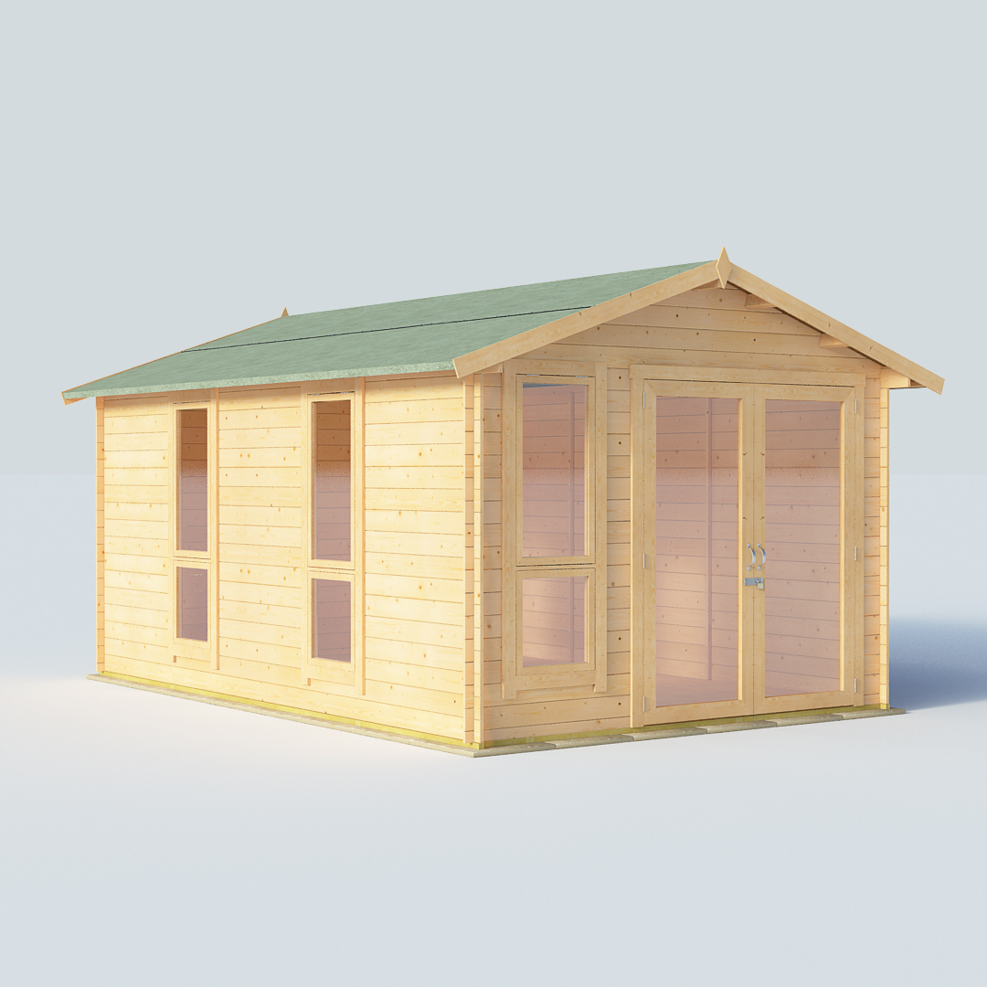 BillyOh Sasha 14 x10 Modern DBL Door 19mm Log Cabin Summerhouse