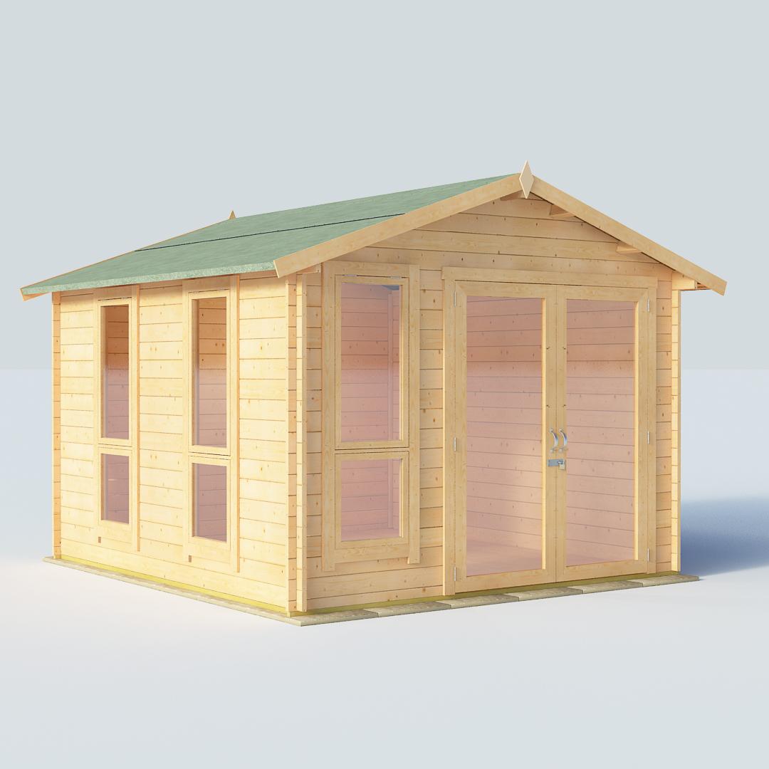 BillyOh Sasha 10x10 Modern DBL Door 28mm Log Cabin Summerhouse