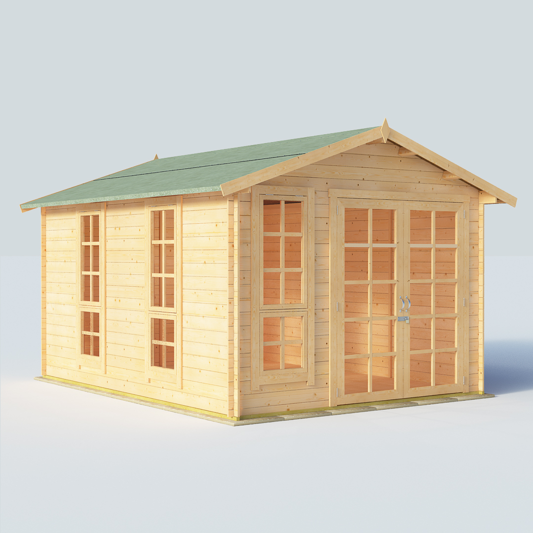 BillyOh Miller 12x10 Georgian DBL Door 19mm Log Cabin Summerhouse
