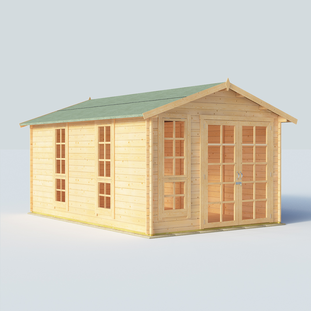 BillyOh Miller 14 x10 Georgian DBL Door 28mm  Log Cabin Summerhouse