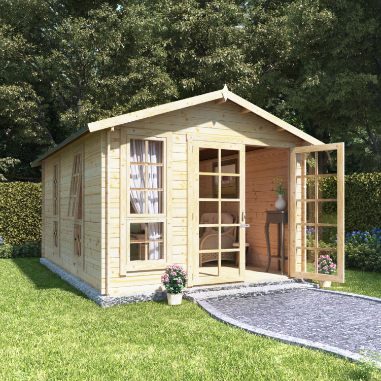 BillyOh Miller Log Cabin Summerhouse - 12x10 Georgian DBL Door 19mm