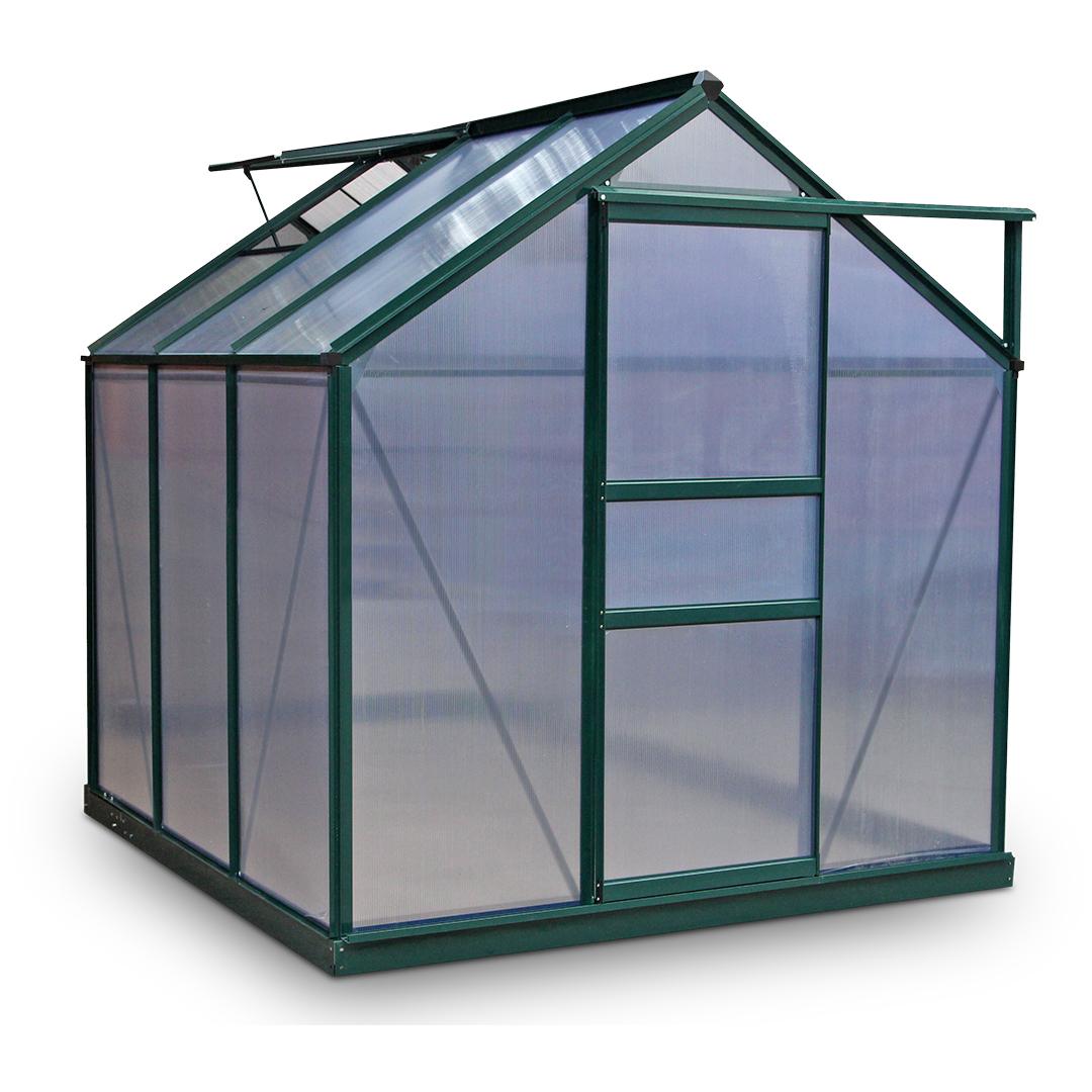 BillyOh Rosette 6 x 6 Green Hobby Aluminium Greenhouse Single Door, Twin Wall Polycarbonate Glazing