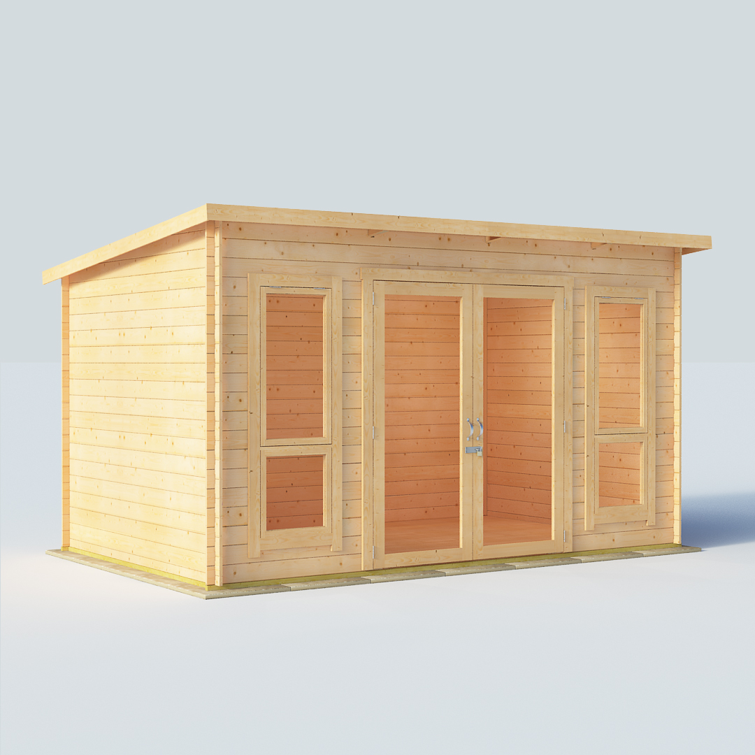 12x8 19mm TG Pent Windowed BillyOh Carmen Single Room Log Cabin Summerhouse