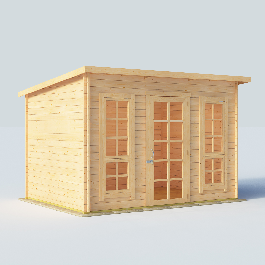 14x8 19mm TG Pent Windowed BillyOh Skinner Modern Log Cabin Summerhouse