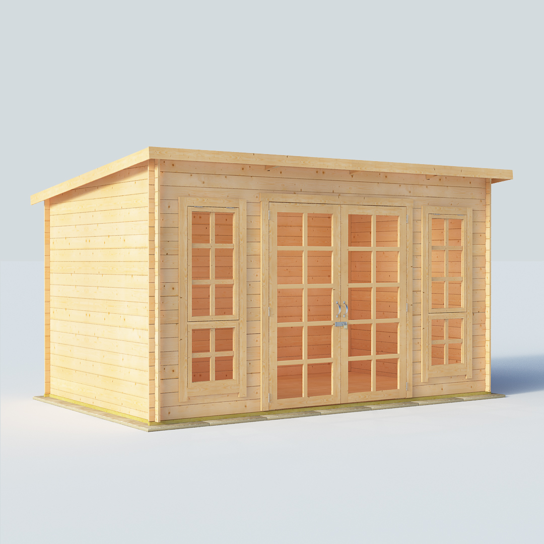 12x8 19mm TG Pent Windowed BillyOh Skinner Modern Log Cabin Summerhouse