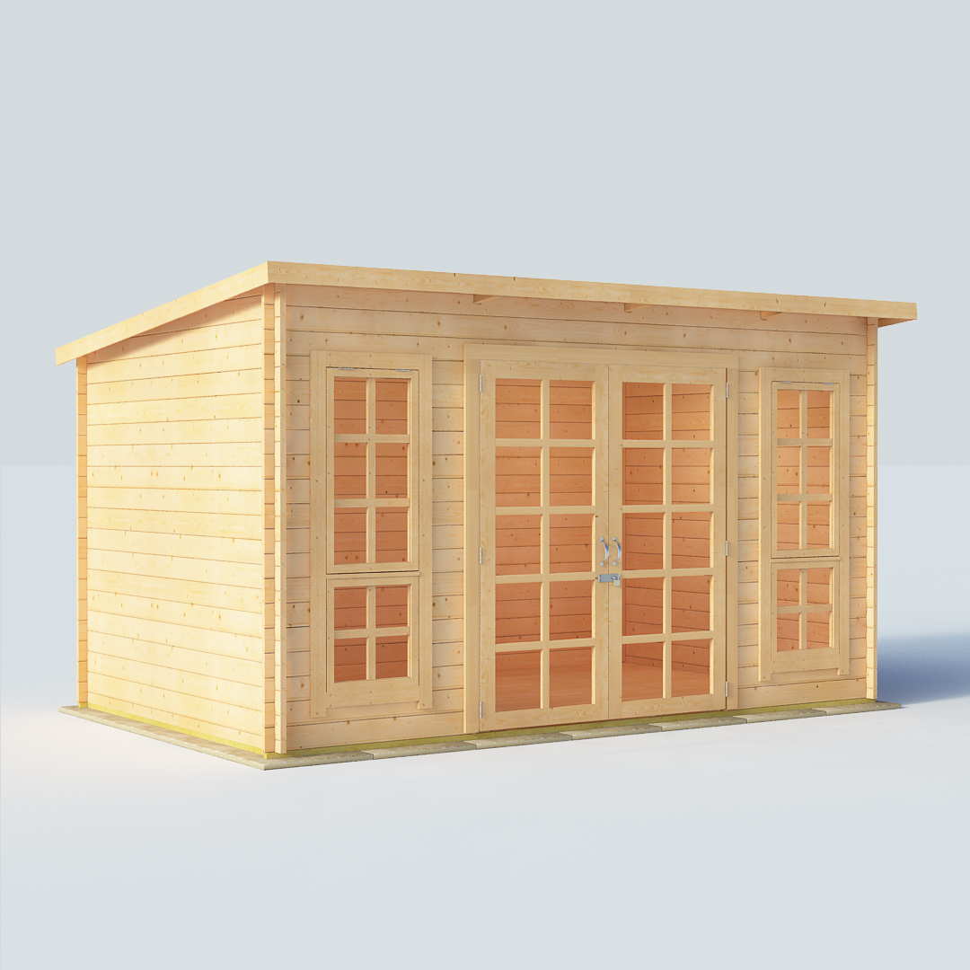 12x8 28mm TG Pent Windowed BillyOh Skinner Modern Log Cabin Summerhouse