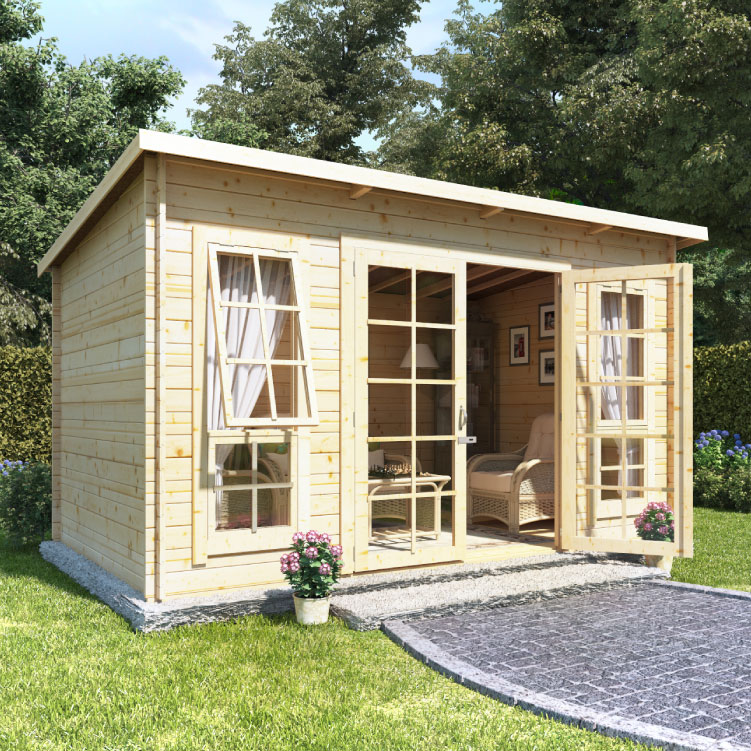 BillyOh Skinner Log Cabin Summerhouse - 10x8 Georgian SGL Door 19mm