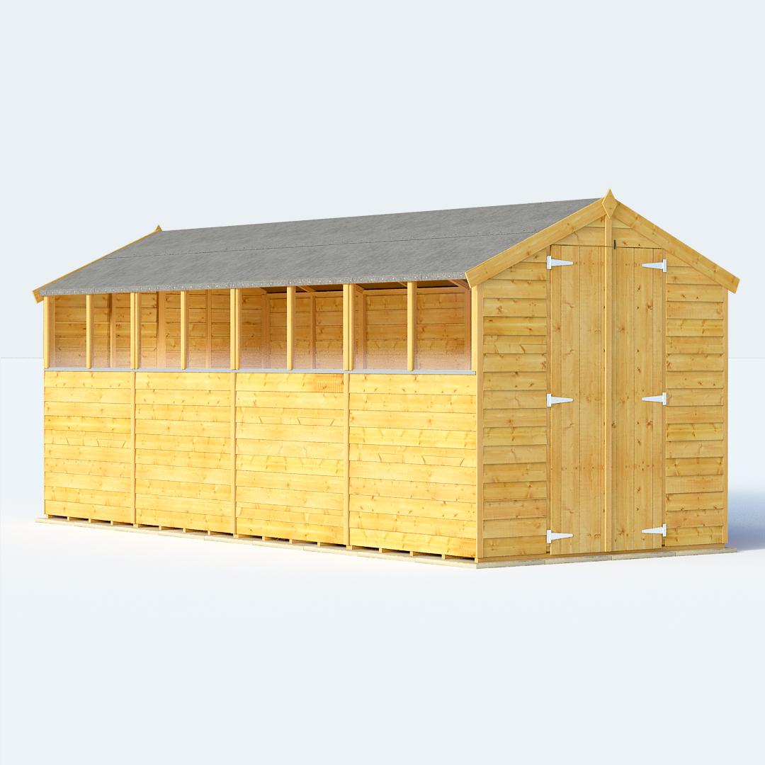 BillyOh 16 x 6 Keeper Overlap Apex Garden Shed Windowed