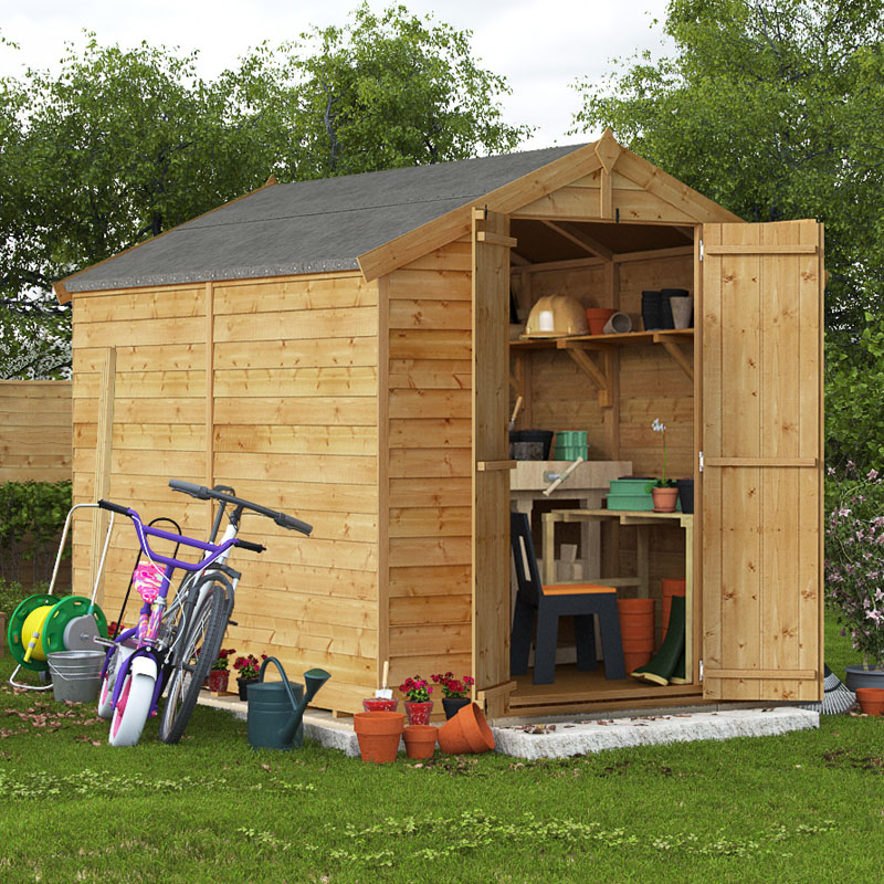 8x6 overlap apex windowless billyoh keeper garden shed for Garden shed 7x6